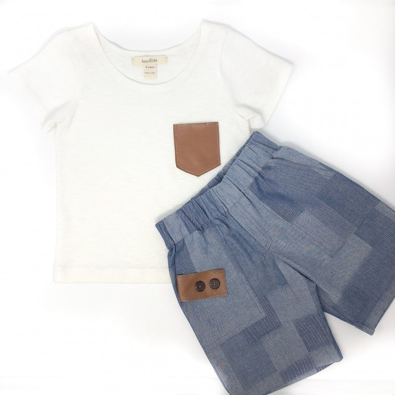 Boys Short-Sleeve Shirt with Leather Pocket