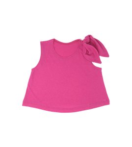 Girls Pink Top with Shoulder Bow