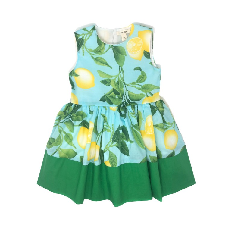 Girls' Sleeveless dress in lemon print-Wholesale