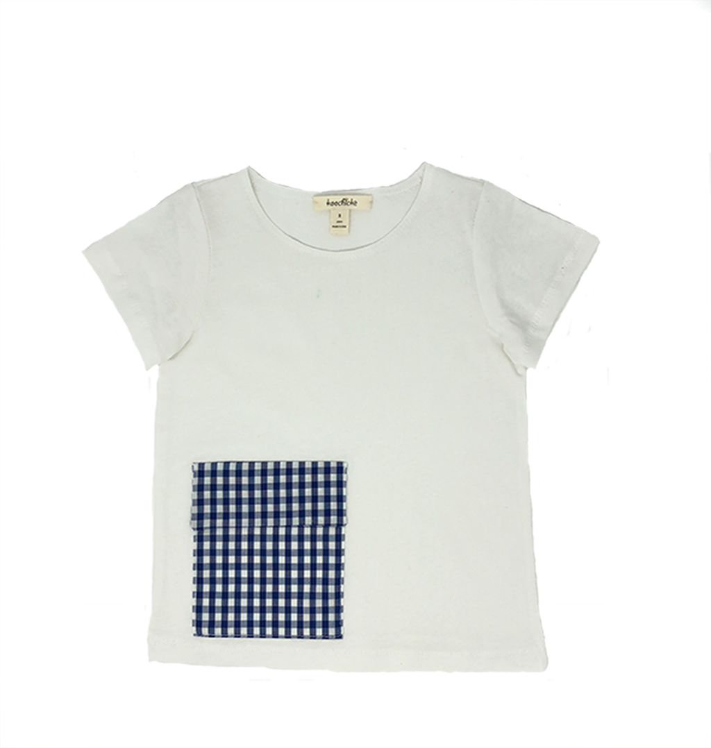 Boys Short Sleeve T-Shirt with Blue Plaid Pocket