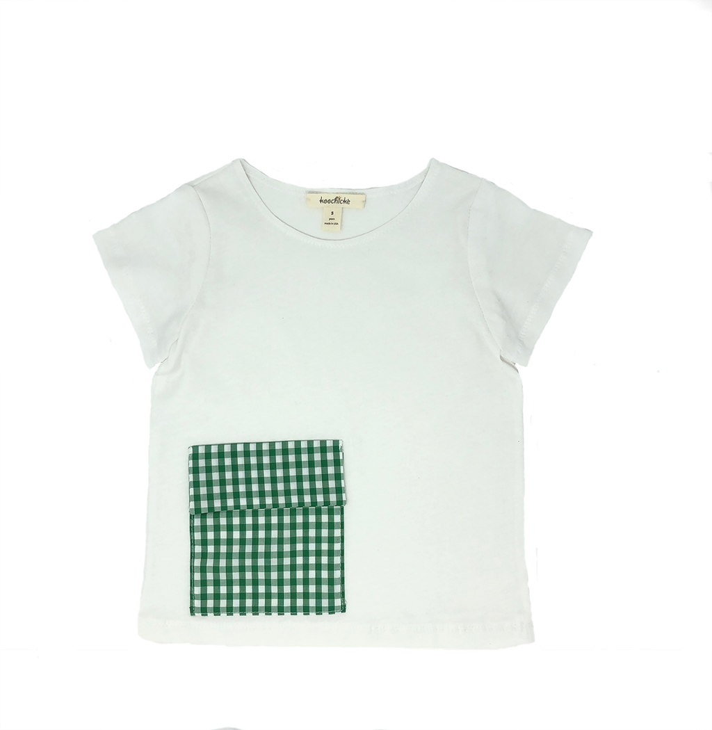 Boys Short Sleeve T-Shirt with Green Plaid Pocket