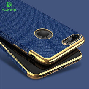 FLOVEME Luxury Plating Soft Cases For iPhone 7/7 plus Gold Black Thin Back Phone Case For Apple iPhone 8 7 Cover Coque Logo Hole - Case Smart