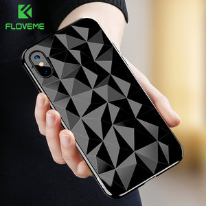 FLOVEME 3D Diamond Pattern Phone Case For iPhone X Luxury Ultra Thin Soft TPU Cases For iPhone 7 8 6 6s Plus Shining Cover Capa - Case Smart