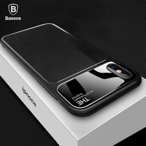 Baseus Luxury Phone Case For iPhone X 10 Capinhas Soft TPU & Glass Back Cover Fitted Case For iPhone 8 7 Plus Coque Fundas - Case Smart
