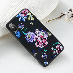 FLOVEME Case For iPhone 5S 5 SE 6 6s 3D Relief Flower Soft Silicone Phone Cases For iPhone X 7 8 6 Plus Floral Cover Accessories - Case Smart