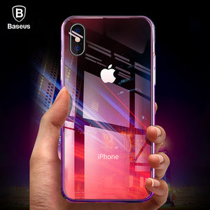 Baseus Phone Case For iPhone X 10 Capinhas Gradient Color Ultra Thin Slim PC Hard Back Cover Case For iPhoneX Shell Coque Fundas - Case Smart