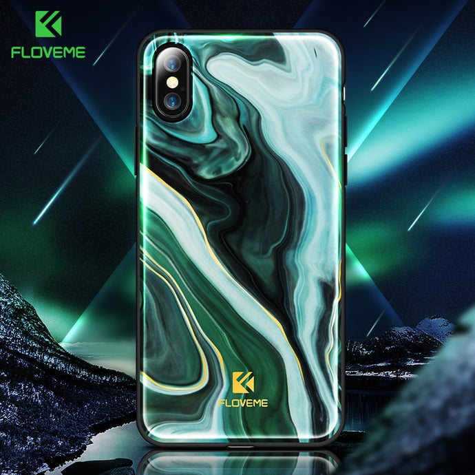 FLOVEME Luxury Phone Case For iPhone X 8 7 Soft Edge Agate Pattern Cases for Apple iPhone 7 7 8 Plus Cover Silicone Accessories - Case Smart
