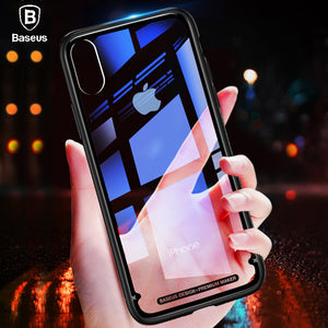 Baseus Luxury Glass Case For iPhone X 10 Coque Soft TPU Transparent Glass Back Protective Cover For iPhonex i Phone X Capinhas - Case Smart