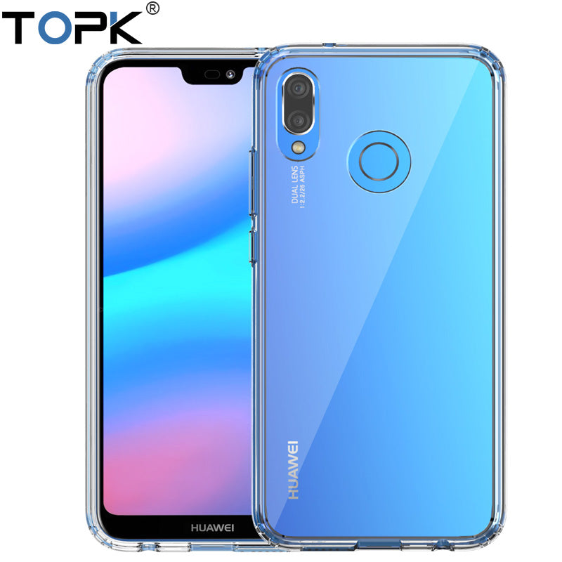 TOPK Phone Case For Huawei P20 Lite Soft Silicone frame + Acrylic Hard Transparent Back Cover for Huawei P20 Pro Protective Case - Case Smart