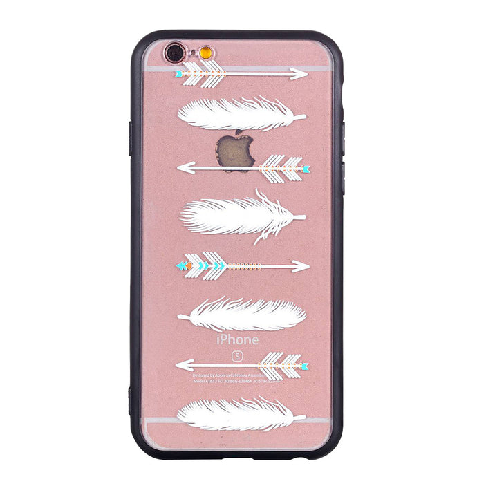 Arrowhead Feather Pattern Phone Case Soft Ultrathin TPU Case Embossment Varnish Design Drop-proof Phone Case Shell for iPhone - Case Smart