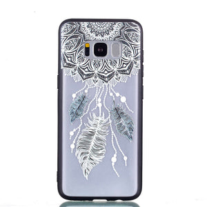 Three Feathers Pattern Phone Case Soft Ultrathin TPU Case Embossment Varnish Design Drop-proof Phone Case Shell for Samsung - Case Smart