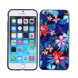 Phone Cover TPU Case Flower Printed Glass Shell Dustproof Protective Phone Case for iPhone - Case Smart