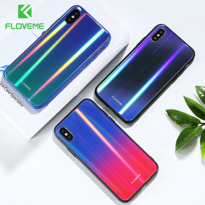 FLOVEME Aurora Tempered Glass Case For iPhone X 7 8 Luxury Ultra Glossy Color Silicone Edge Cover For iPhone 7 8 Plus Phone Case - Case Smart