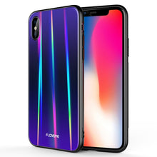 Load image into Gallery viewer, FLOVEME Aurora Tempered Glass Case For iPhone X 7 8 Luxury Ultra Glossy Color Silicone Edge Cover For iPhone 7 8 Plus Phone Case - Case Smart