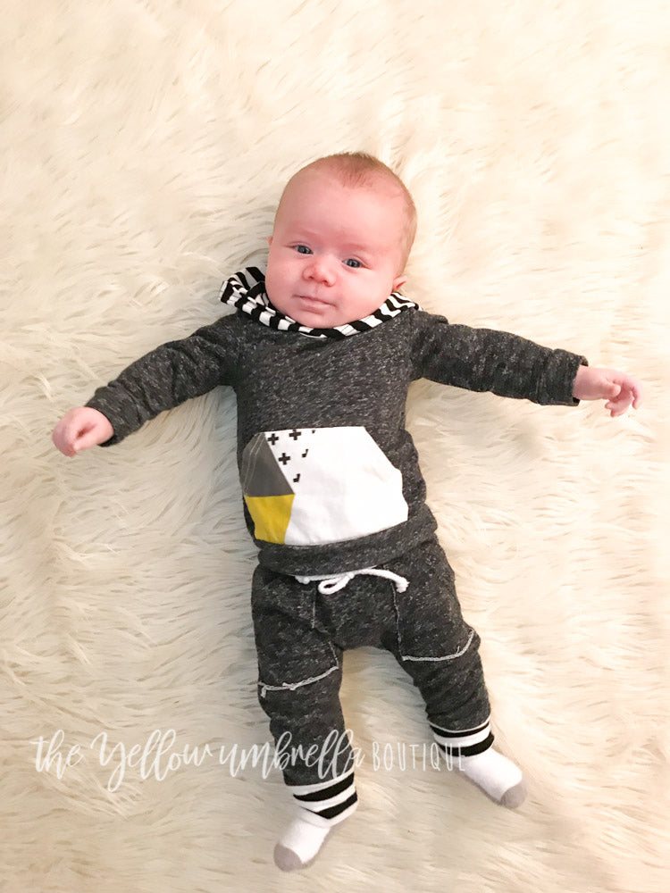 Baby Boy Hoodie Outfit [Swiss Cross + Stripes]