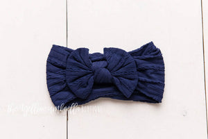 Cable Knit Nylon Headwrap [Navy Blue]