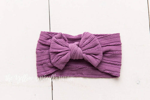 Cable Knit Nylon Headwrap [Dark Orchid]