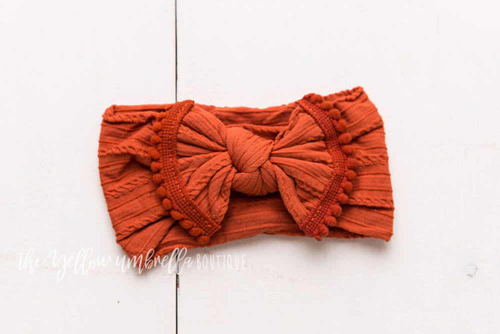 Cable Knit Pom Pom Nylon Headwrap [Rust]