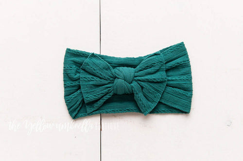Cable Knit Nylon Headwrap [Forest Green] (FINAL SALE!)