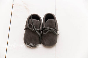Faux Leather Fringe Moccasins [Charcoal Gray]