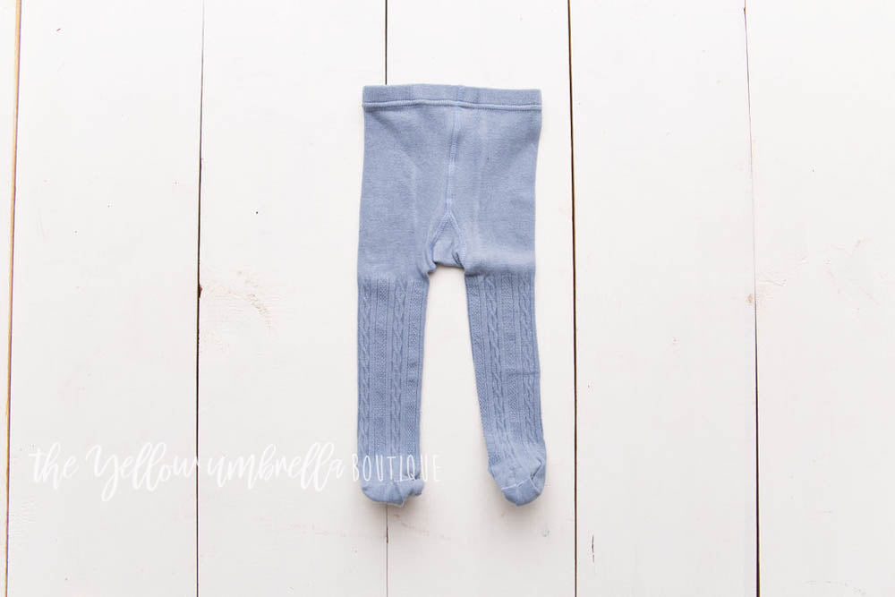 Cable Knit Tights [Gray Blue]