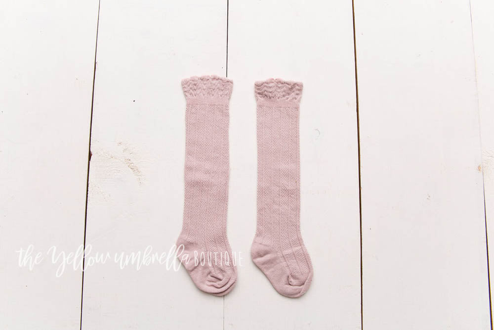 Knee High Scalloped Socks [Pink] (FINAL SALE!)