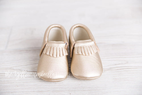 Faux Leather Fringe Moccasins [Metallic Gold] (FINAL SALE!)