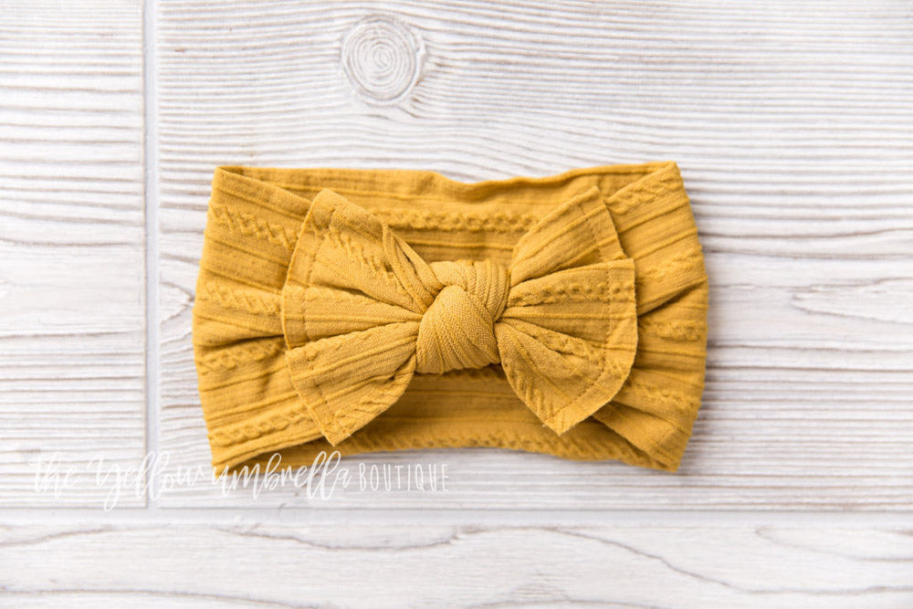 Cable Knit Nylon Headwrap [Mustard]
