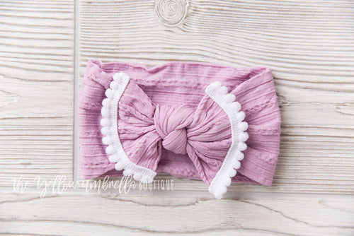 Cable Knit Pom Pom Nylon Headwrap [Light Orchid]