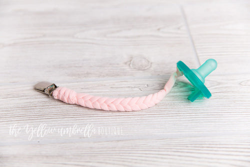 Braided Cotton Pacifier Clip [Light Pink]