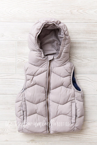 Quilted Hood Puffer Vest [Gray]