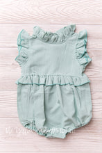 Load image into Gallery viewer, Chiffon Ruffle Romper [Blue Sage]