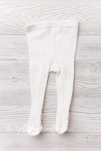 Cable Knit Tights [White] (FINAL SALE!)