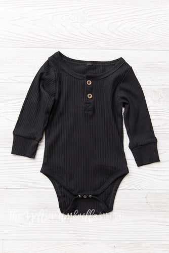 Ribbed Cotton Onesie [Black] (FINAL SALE!)