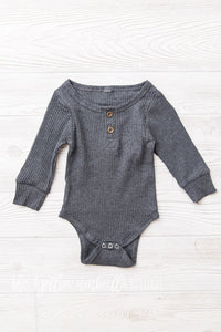Ribbed Cotton Onesie [Gray]