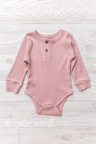 Ribbed Cotton Onesie [Pink]