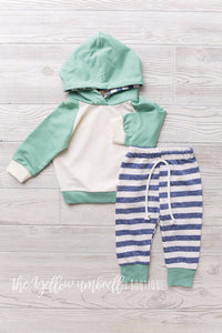 Hoodie Outfit [Turqoise and Heathered Blue Stripe]
