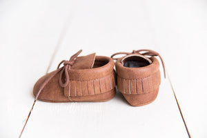 Faux Leather Fringe Moccasins [Cinnamon]