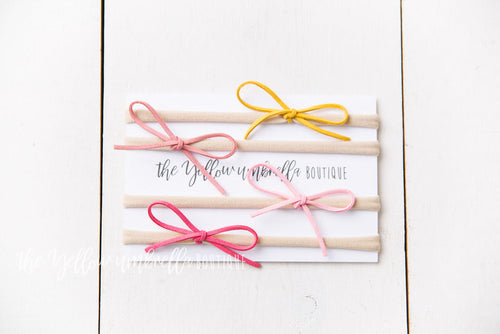 Skinny Suede Nylon Headbands 4 Piece [Yellow + Blush + Light Pink + Hot Pink]