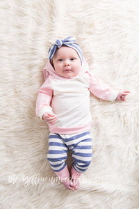 Girl Hoodie Outfit [Pastel Pink and Heathered Blue Stripe] (FINAL SALE!)