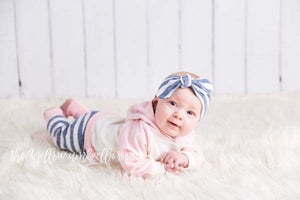 Girl Hoodie Outfit [Pastel Pink and Heathered Blue Stripe]