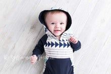 Load image into Gallery viewer, Hoodie Jumpsuit [Aztec Navy] (FINAL SALE!)