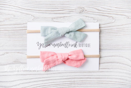 Large Nylon Headbands 2 Piece [Sage + Blush]