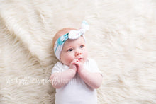 Load image into Gallery viewer, Thick Bowknot Headwrap [Turquoise & Blush Arrow + Gold Confetti]