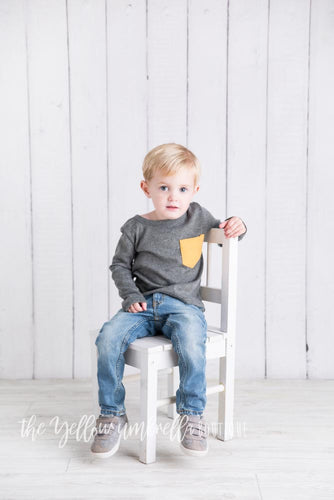 Long Sleeve Toddler Shirt [Gray with Mustard Pocket] (FINAL SALE!)