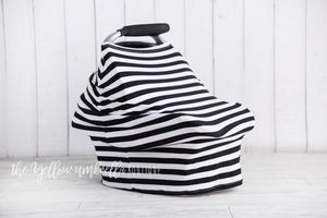 Multi-Use Baby Car Seat Cover [Thick Black & White Stripe]