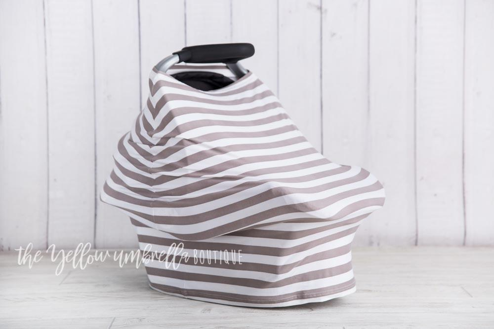 Thick Gray & White Stripe Baby Car Seat Cover