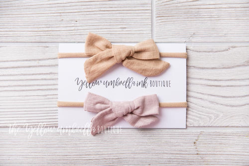 Large Nylon Headband 2 Piece [Wheat + Light Mauve]