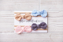 Load image into Gallery viewer, Rounded Nylon Headbands 4 Piece [Blue + Dark Wheat + Dark Gray + Light Pink]