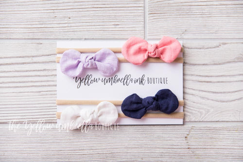 Rounded Nylon Headbands 4 Piece [Coral + Lavender + Navy + White]